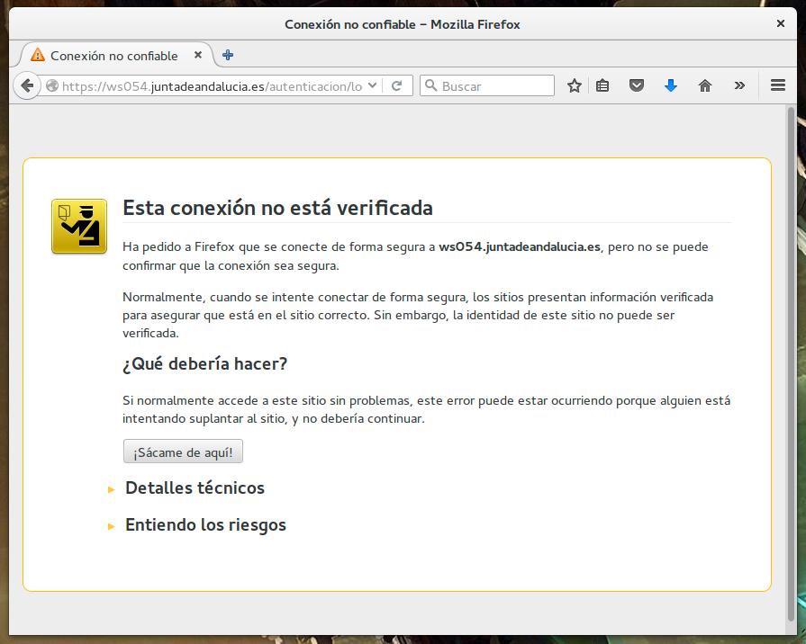 Certificado de sitio web inválido del SAE, perteneciente a la Junta de Andalucía