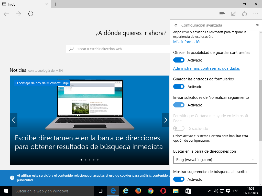 03 Cómo activar Do Not Track en Microsoft Edge