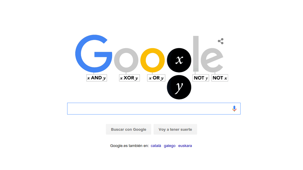 El doodle de Google para el 2 de octubre de 2015 homenajea a George Bool, creador del algoritmo de bool