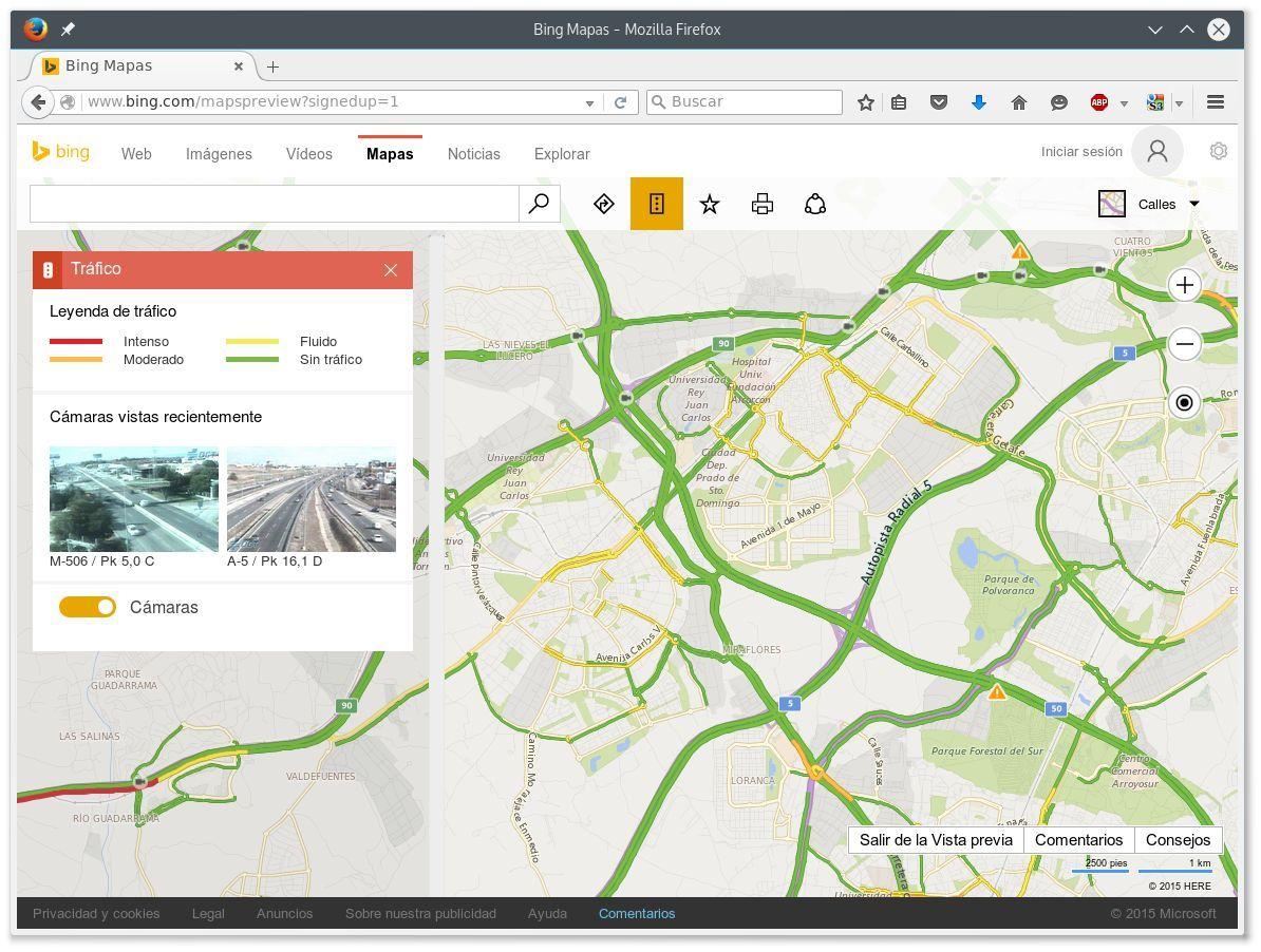 Historial de cámaras consultadas a través de Bing Maps