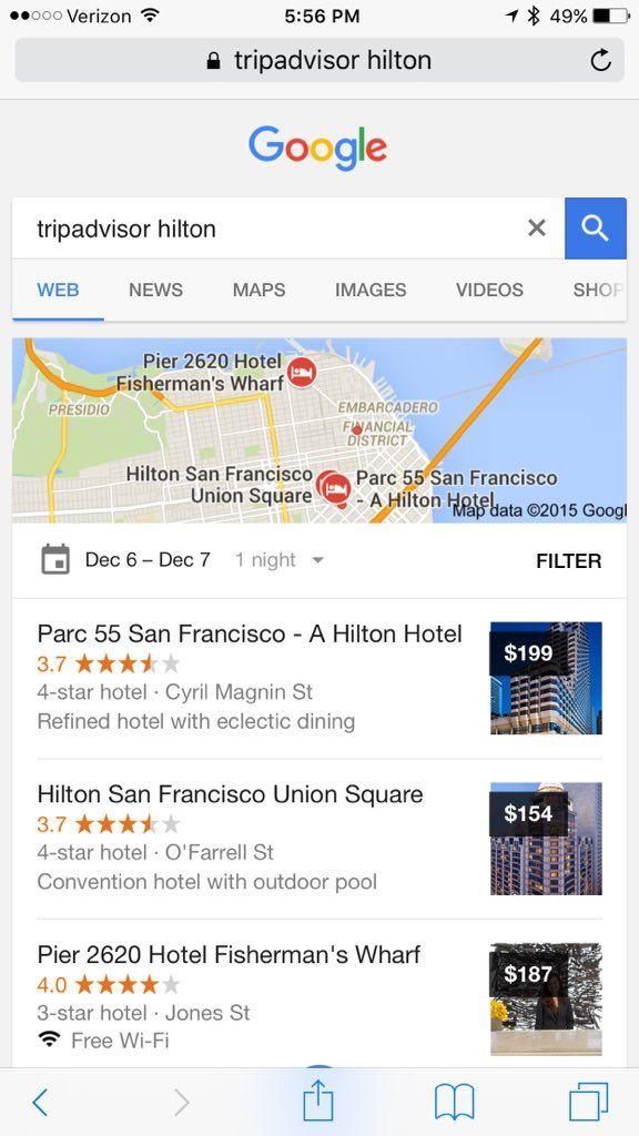 TripAdvisor intentando demostrar que Google ha antepuesto sus propios servicios en las búsquedas relacionadas con TripAdvisor