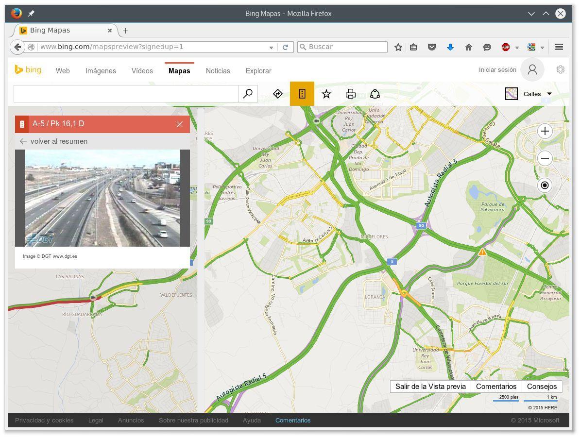 Ver el tráfico en Bing Maps