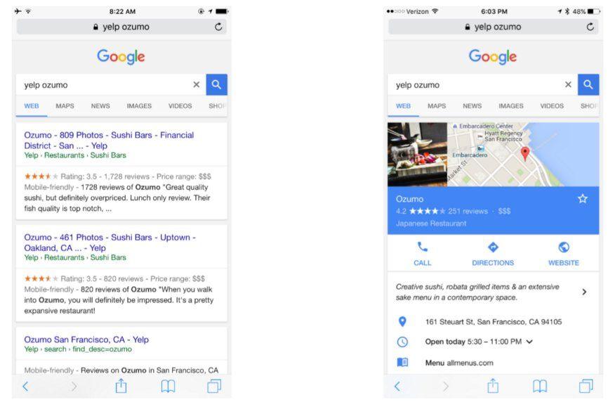 Yelp intentando demostrar que Google ha antepuesto sus propios servicios en las búsquedas relacionadas con Yelp