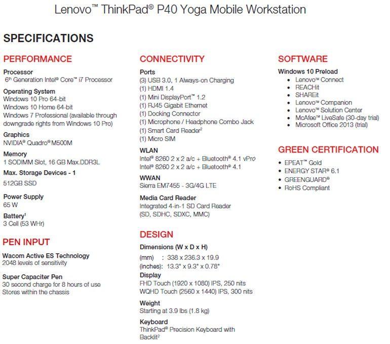 Especificaciones del Lenovo ThinkPad P40 Yoga