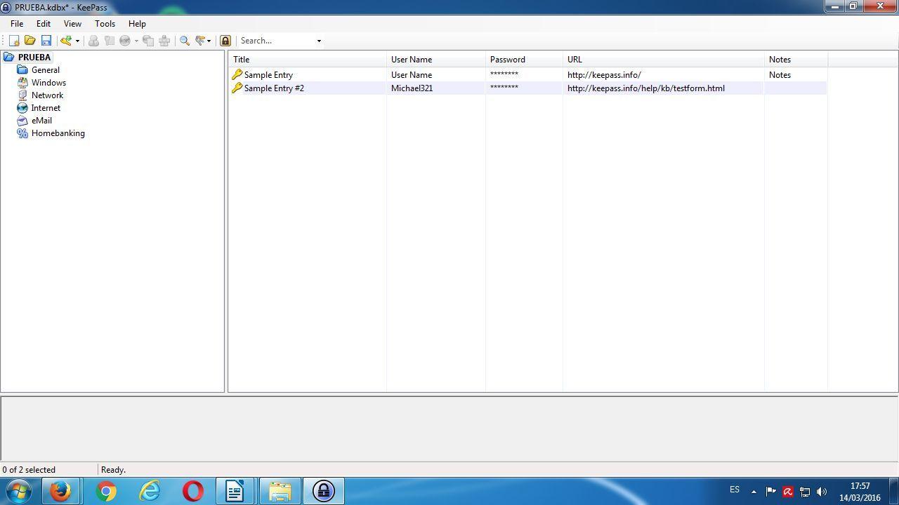 Interfaz por defecto de KeePass