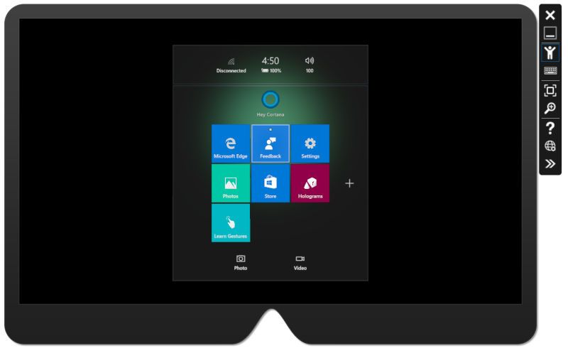 Interfaz del emulador de Hololens para Visual Studio 2015