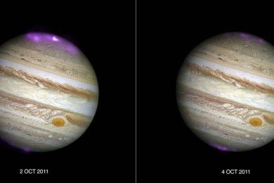 Tormenta solar activa aurora de rayos X en Júpiter