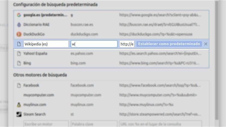Editando los motores de búsqueda