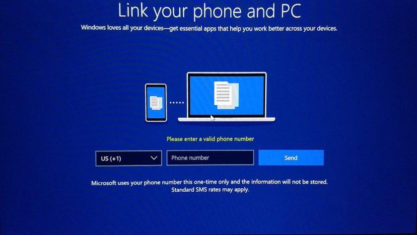 Windows 10 Build 17063 pide tu número de teléfono