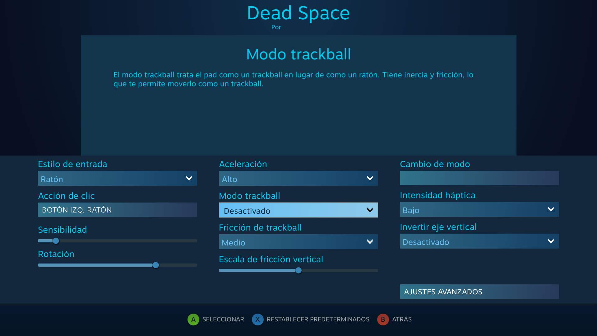 Configuración del trackpad derecho para Dead Space