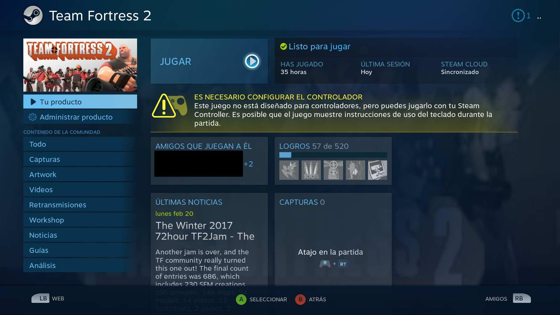 Aviso de que juego no es compatible por defecto con Steam Controller
