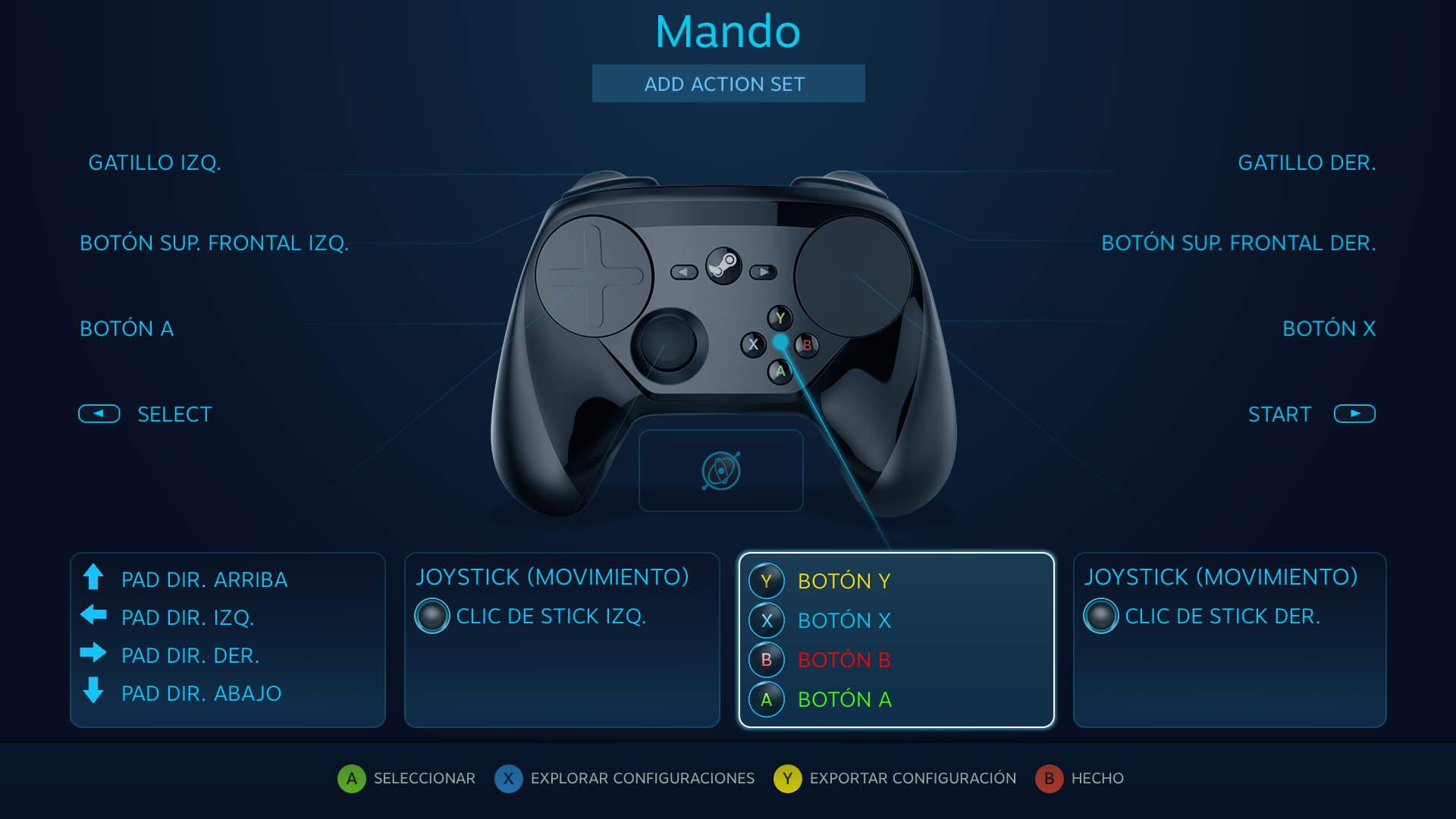 Configuración por defecto para GRID, que emula los controles de Xbox