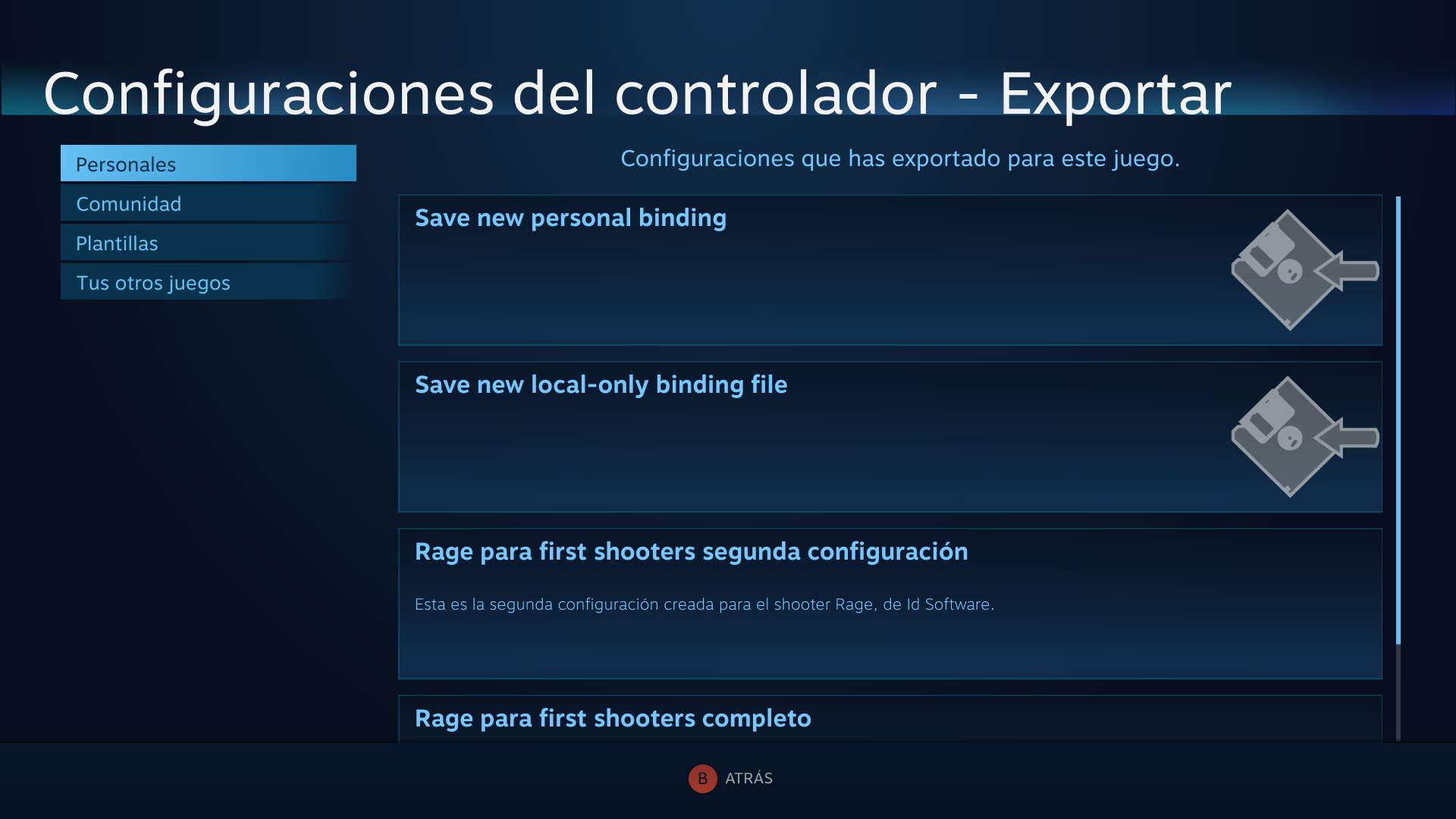 Guardar configuraciones del Steam Controller