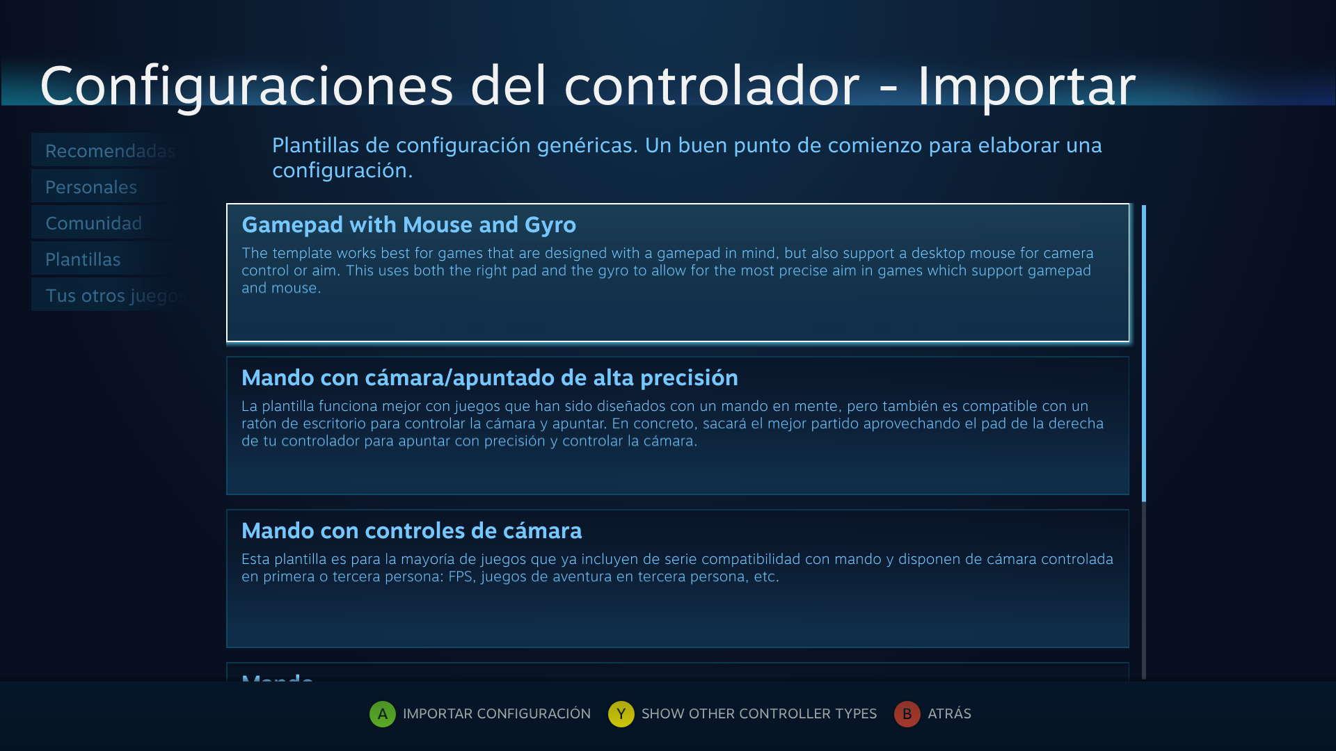 Plantillas para juegos Steam Controller