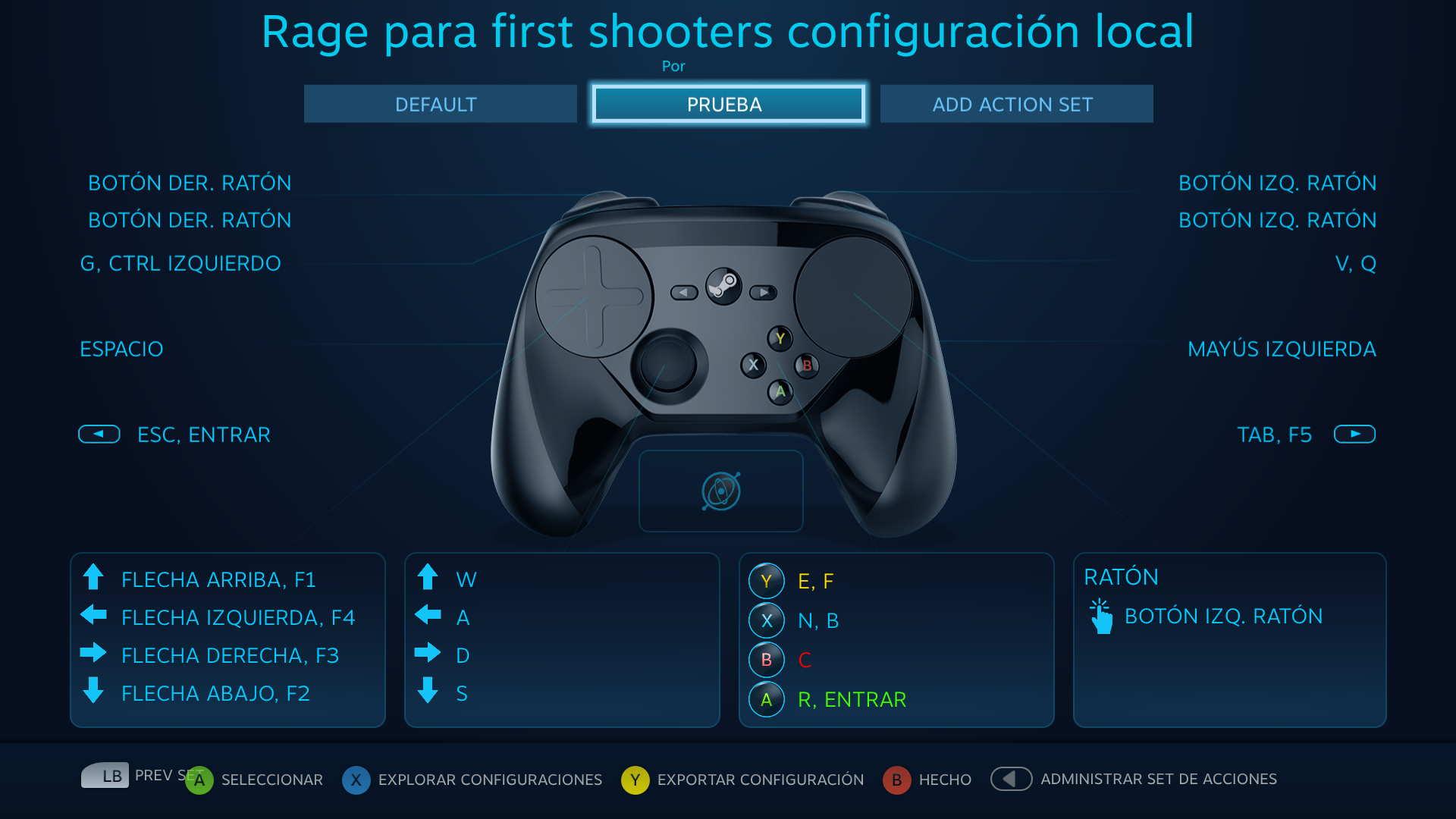 Distintas configuraciones del controlador para un solo juego