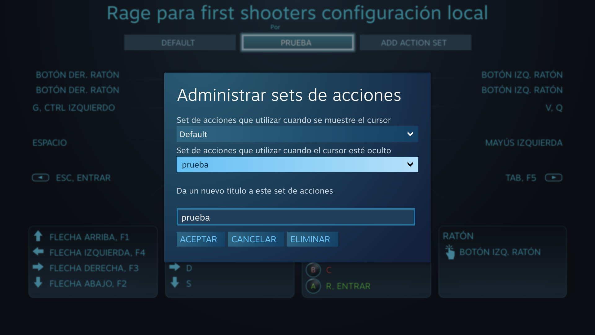 Establecer una configuración en caso de estar mostrándose un cursor en pantalla