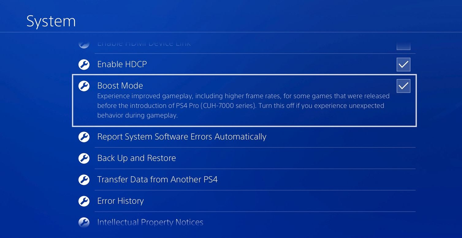 boost mode ps4
