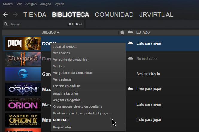 los archivos de juegos Steam