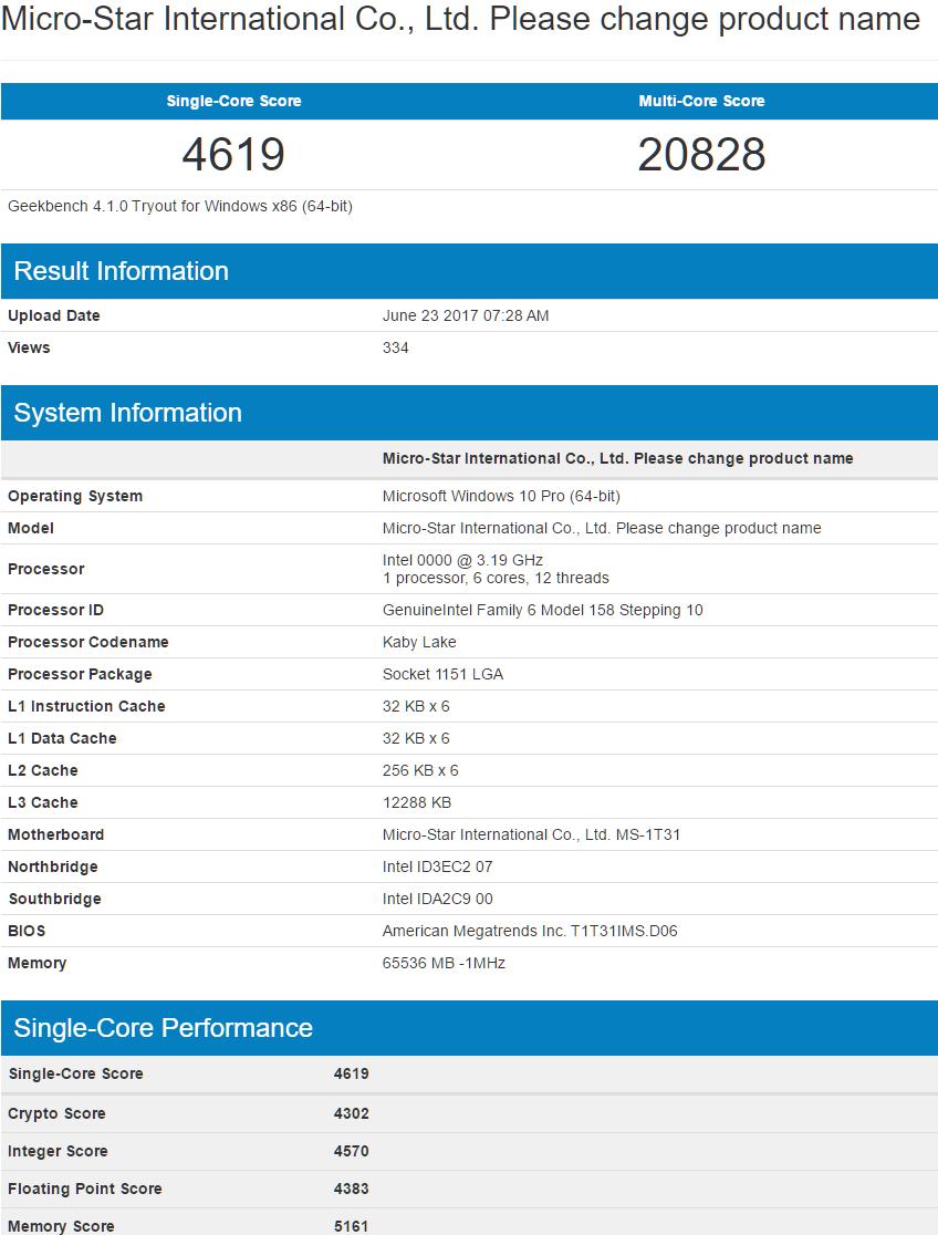 Rendimiento en Geekbench del Intel Coffe Lake de 6 núcleos y 12 hilos 31