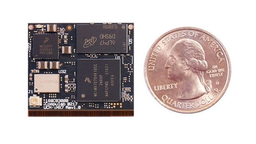 El nuevo mini PC UCM-iMX7 es casi tan pequeño como una moneda