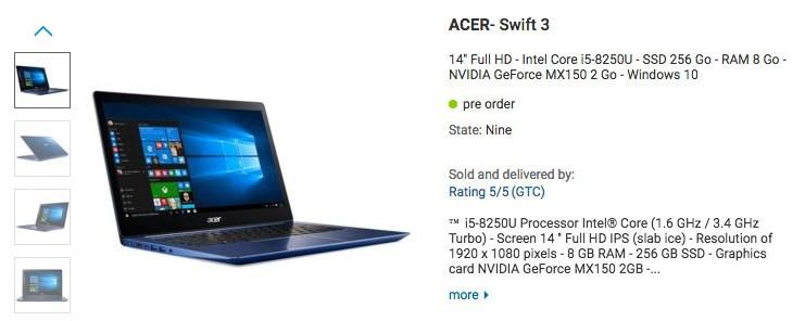 Listado portátil Acer con procesador Coffee Lake de Intel y GeForce MX150 32
