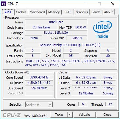 Captura CPU-Z de un Intel Core Coffee Lake de 6 núcleos 32