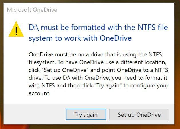 OneDrive ya no trabaja con sistemas que no sean NTFS 30