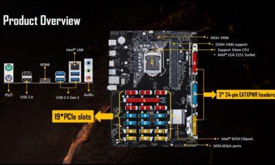 ASUS presenta placa base B250 con soporte de 19 tarjetas gráficas 116
