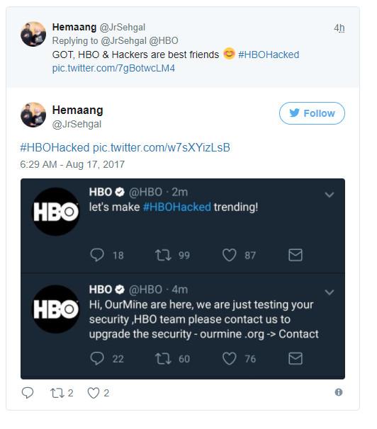 OurMine hackea cuentas sociales de HBO y Juego de Tronos 31