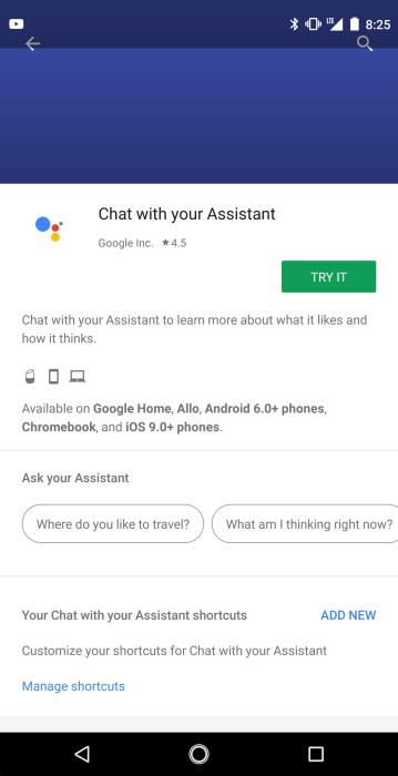 Chat with your Assistant en la Play Store de Android, indicando la compatibilidad con los Chromebooks