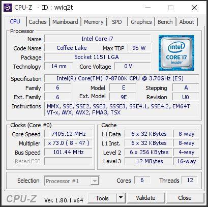 Suben un Core i7 8700K a 7,45 GHz con todos los núcleos activos 35