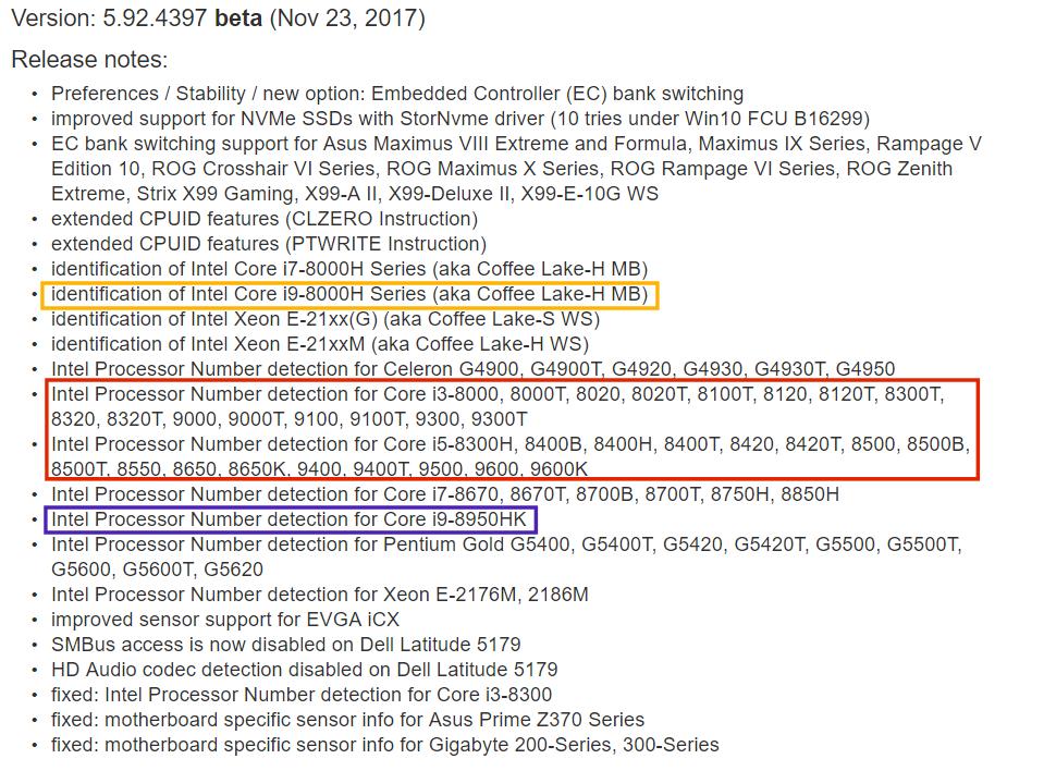 AIDA64 lista procesadores Core 8000 para portátil y Core 9000 32