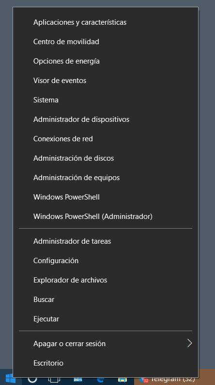 menú avanzado de Windows 10