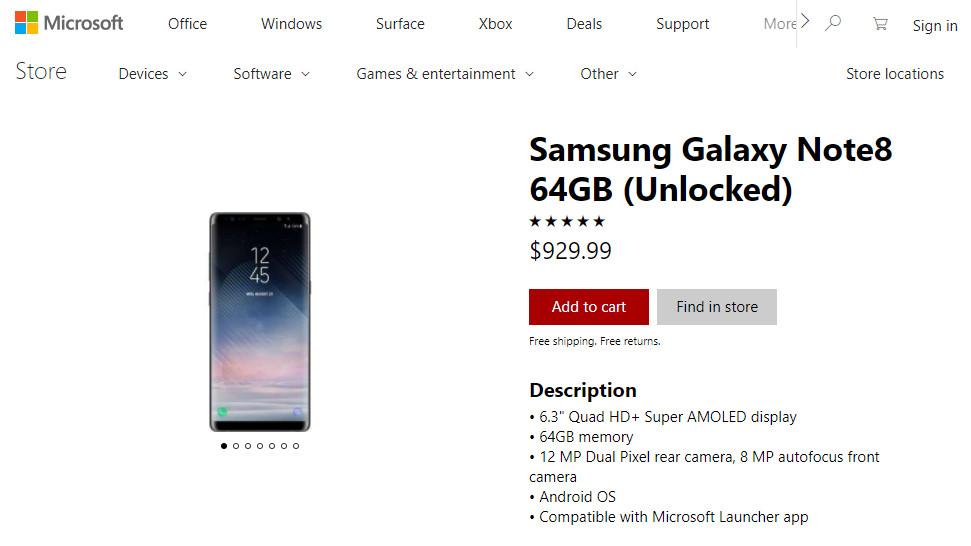 Microsoft ama a Android y vende el Galaxy Note 8 en la Microsoft Store 31