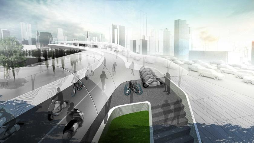 BMW quiere resolver el problema del tráfico urbano con un carril bici elevado 28