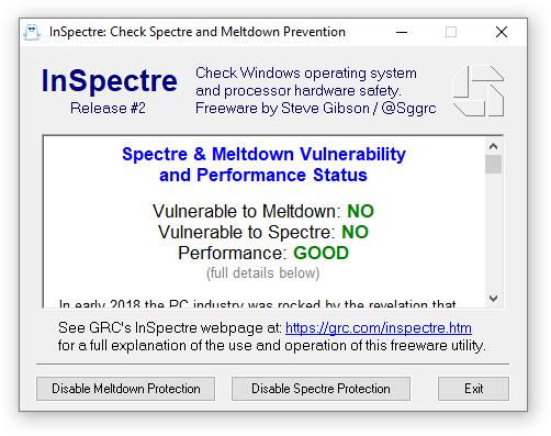 InSpectre te dice en segundos si tu PC está protegido contra Spectre y Meltdown 32