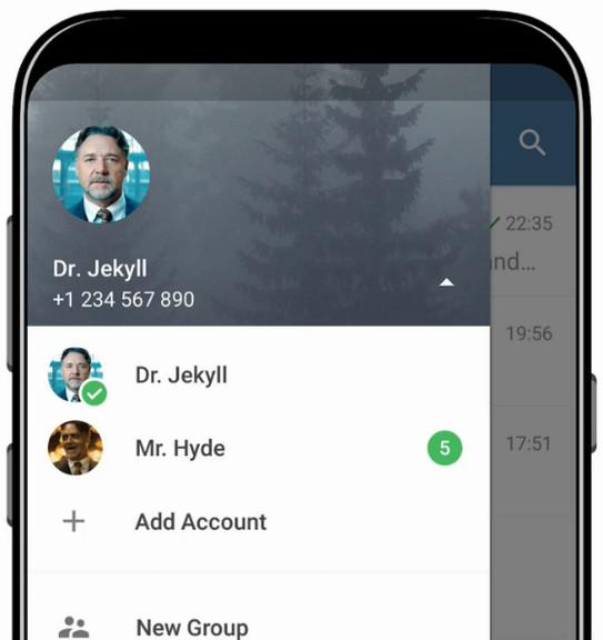 Múltiples cuentas en Telegram 4.7 para Android