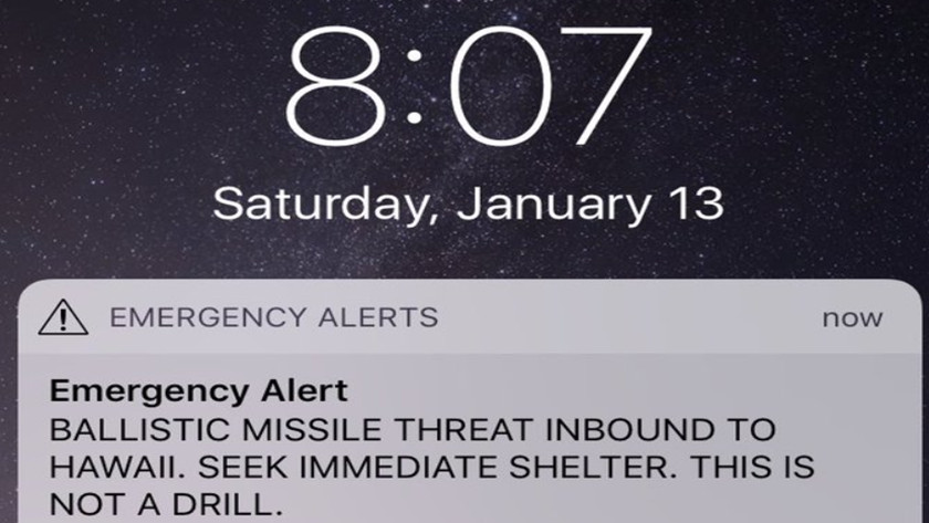 alerta de misiles balísticos