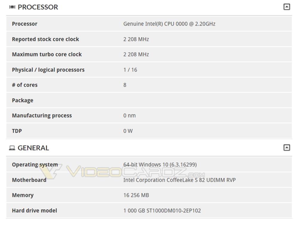 Listado procesador Intel Coffee Lake de 8 núcleos y 16 hilos en 3DMark 31