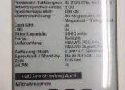 Minorista alemán filtra especificaciones y precios de los Huawei P20 y P20 Pro 34