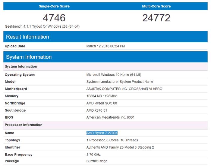 El Ryzen 7 2700X aparece en la prueba de rendimiento GeekBench 31