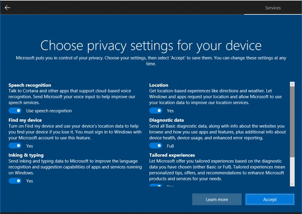 Microsoft muestra nueva pantalla de privacidad para Windows 10 31