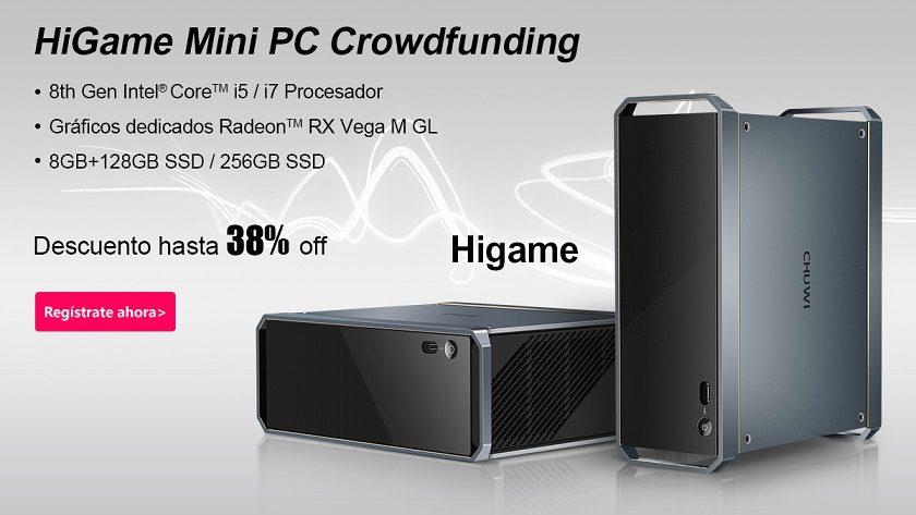 Chuwi ofrece hasta un 38% de descuento en el PC HiGame con Core i7-8709G