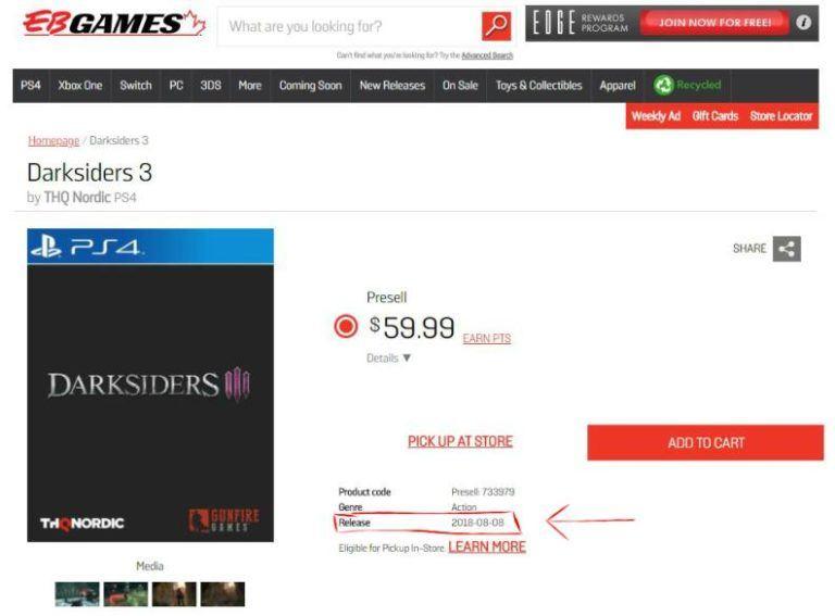 Darksiders 3 llegará en agosto según el minorista EB Games 32
