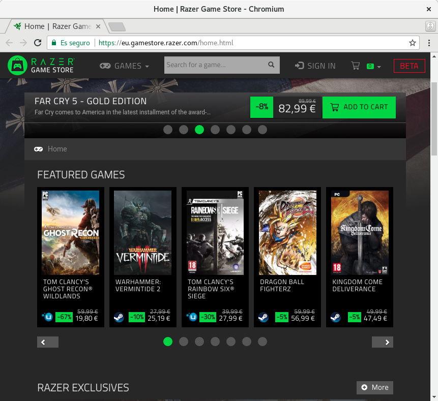Juegos de Steam y uPlay en Razer Game Store