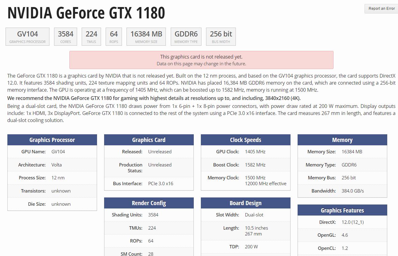 Listada la GTX 1180 de NVIDIA: posibles especificaciones 31