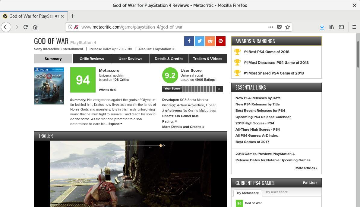 God of War para PlayStation 4 en Metacritic