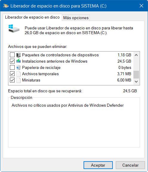 Cómo liberar espacio después de instalar Windows 10 April 2018 Update 32