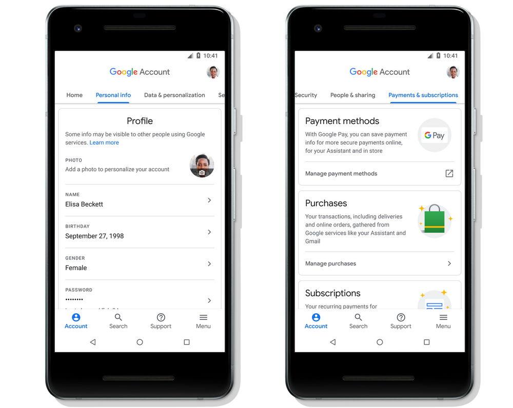 Nueva disposición de Cuenta de Google (Google Account) para Android