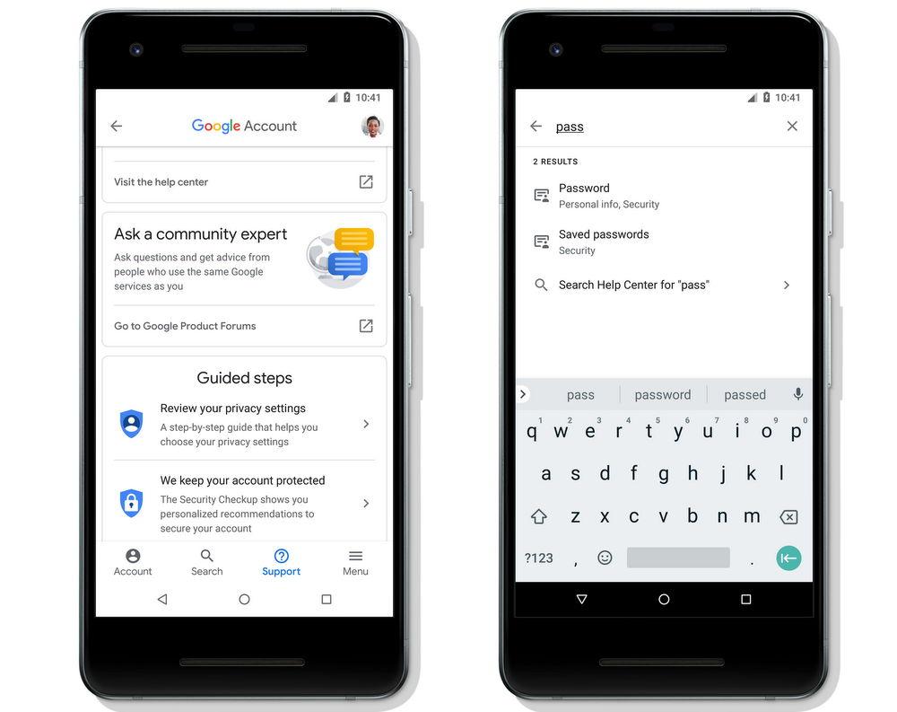 Búsqueda de sección en Cuenta de Google (Google Account) para Android